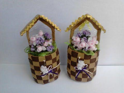 floreros hechos con botella plastica y fieltro - YouTube