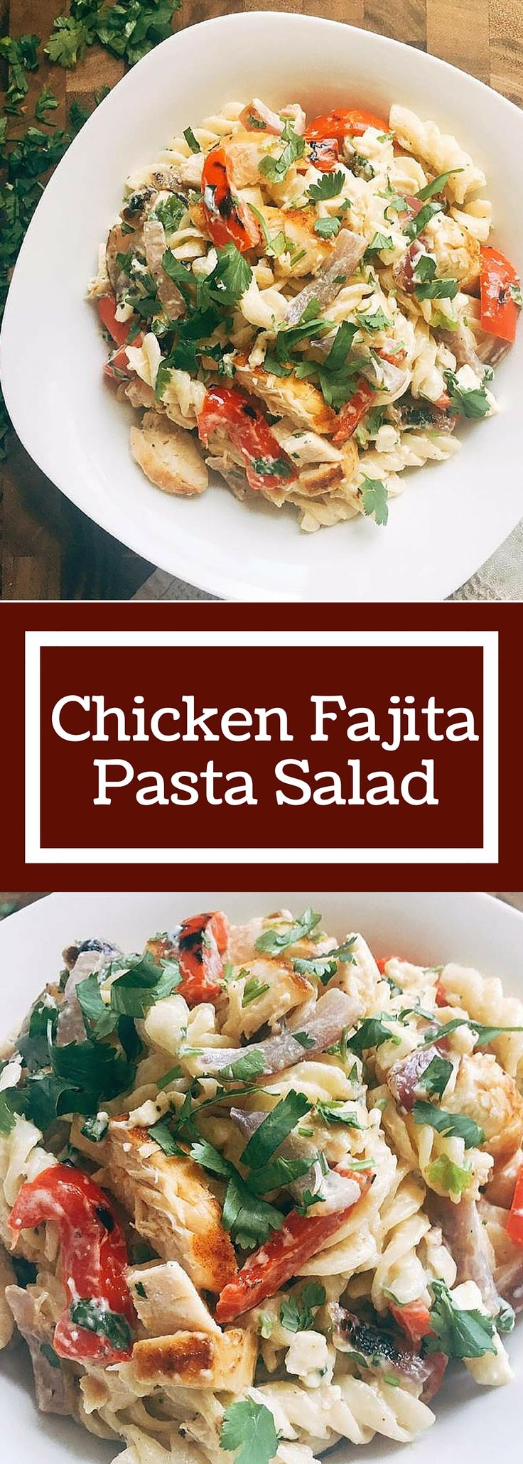 Flavors of Citrus Chicken Fajitas are transformed into a pasta salad! Kid friendly and a crowd pleaser, this Chicken Fajita Pasta Salad is the perfect side dish for a cookout! | Three Olives Branch | www.threeolivesbranch.com