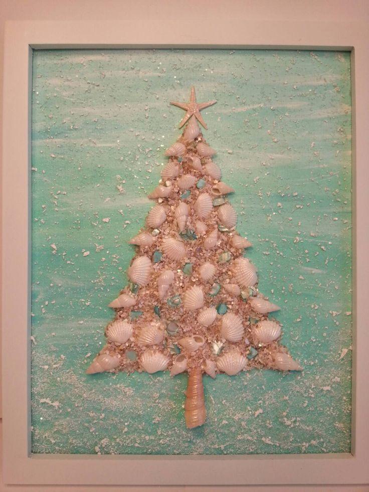 Coastal Christmas Tree Coastal Decor Coastal Christmas Decor Shell Tree Coastal Wall Art by CathyCJewelsandDecor on Etsy