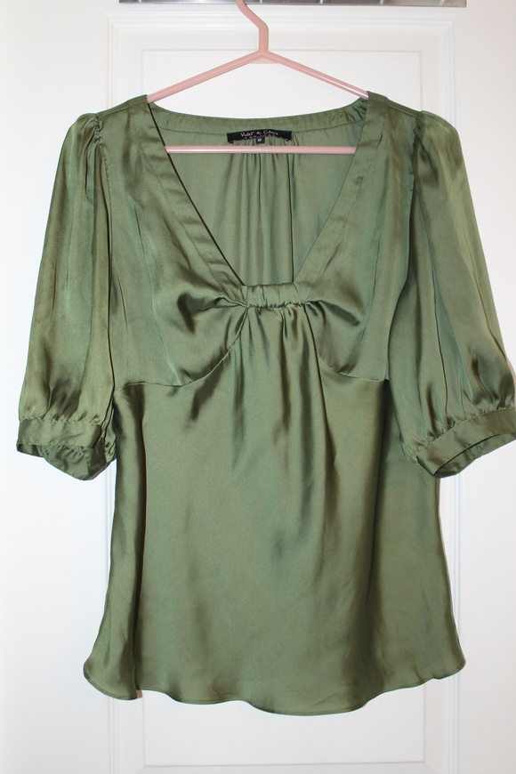 Available @ trendtrunk.com Emerald-Green-Satin-Blouse. Tops by Violet  Claire. Only $28.00!