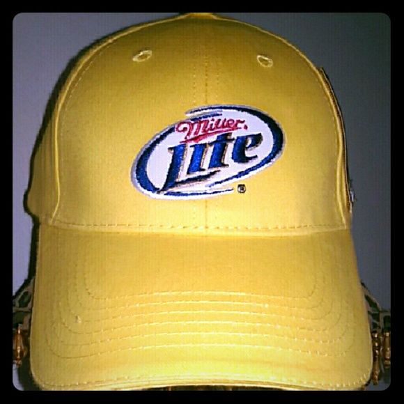 {Miller Lite} baseball cap Baseball Cap Bright Yellow Cap w/Miller Lite Logos Adjustable via Snap Back  GREAT COLOR BRAND NEW UNISEX Miller Lite Accessories Hats