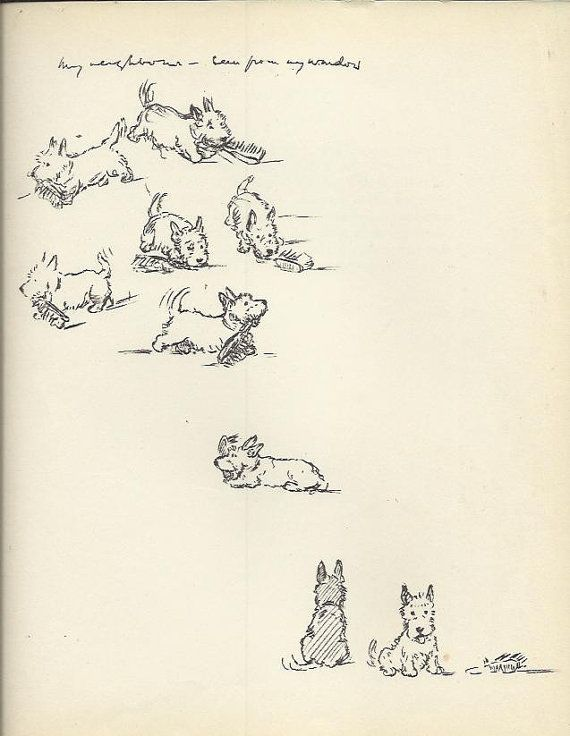 Scottish Terrier dog Print by Lucy Dawson by OLDBOOKSMAPSPRINTS, £10.00