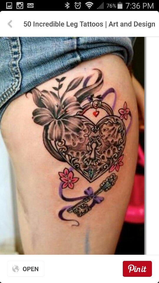 Heart locket & key w/ flowers