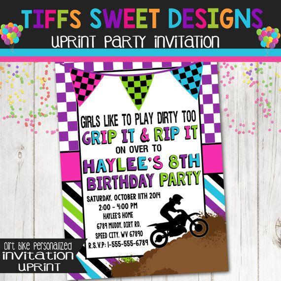 Girl Dirt Bike Birthday Party Invitation  Dirtbike