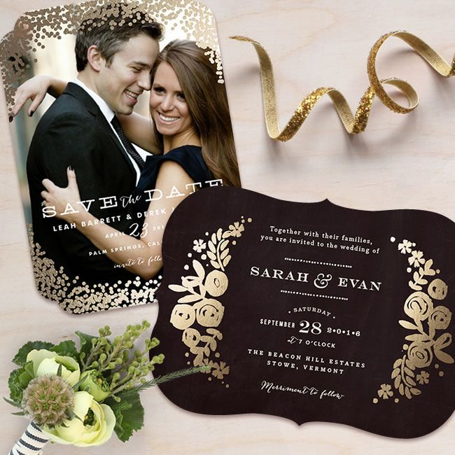 Gold foil-pressed Save the Dates with bold shapes.