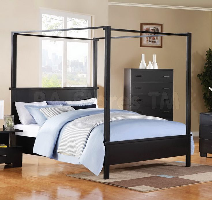 5 pc London Canopy Collection black finish wood queen canopy 4 poster bed set with squared post ends and feet and paneled ends. This set includes the Queen ... & 27 best Rope Beds u0027n Canopy Beds images on Pinterest | Canopy beds ...
