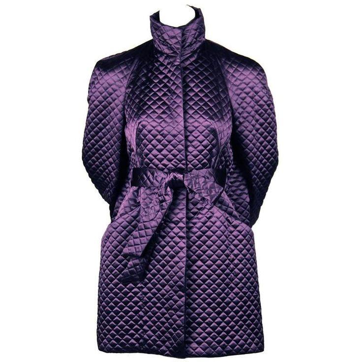 2007 ALEXANDER MCQUEEN purple satin quilted runway coat