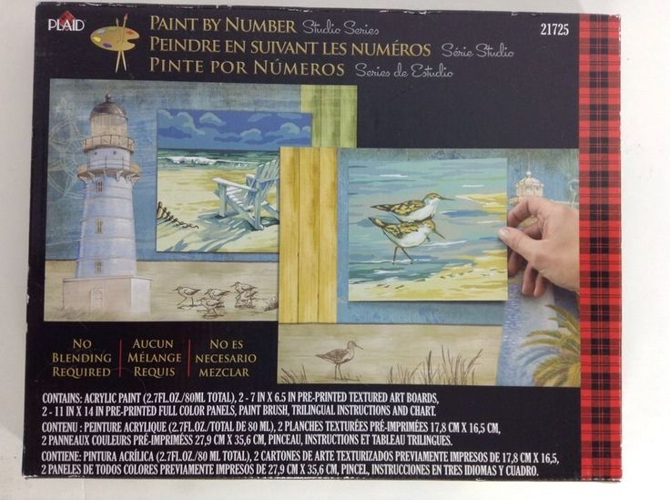 """Plaid Paint by Number Kit 21725 Beachside 14 x 11"""" Multilingual Directions Sea   eBay"""