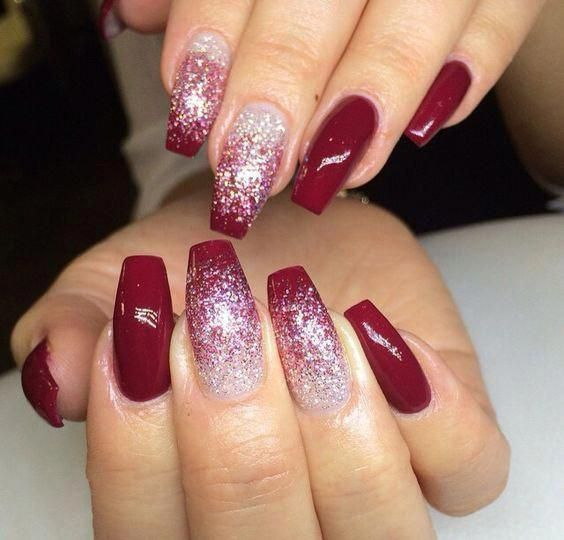 Red Christmas Nails Coffin Simple