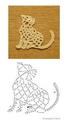 Crochet Cat Applique: free #crochet #cat #chart                                                                                                                                                                                 More
