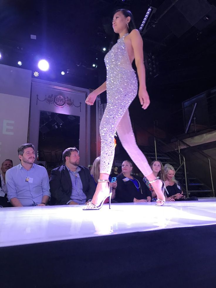 Rhinestone sparkle glitter halter jumpsuit from MIssguided as seen at the Awin Fashion Show in nyc 2017