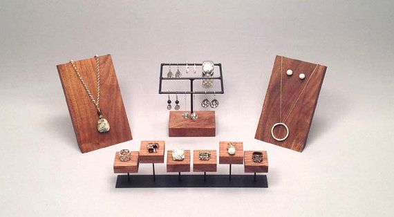 Ring Display  This ring display is perfect to display a multiple rings or even cufflinks. It features spots for six items.  The holders are made from…