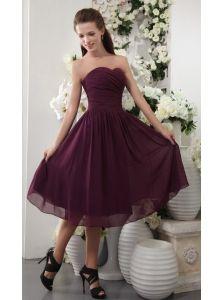 Dark Purple Empire Sweetheart Tea-length Chiffon Pleat Bridesmaid Dress