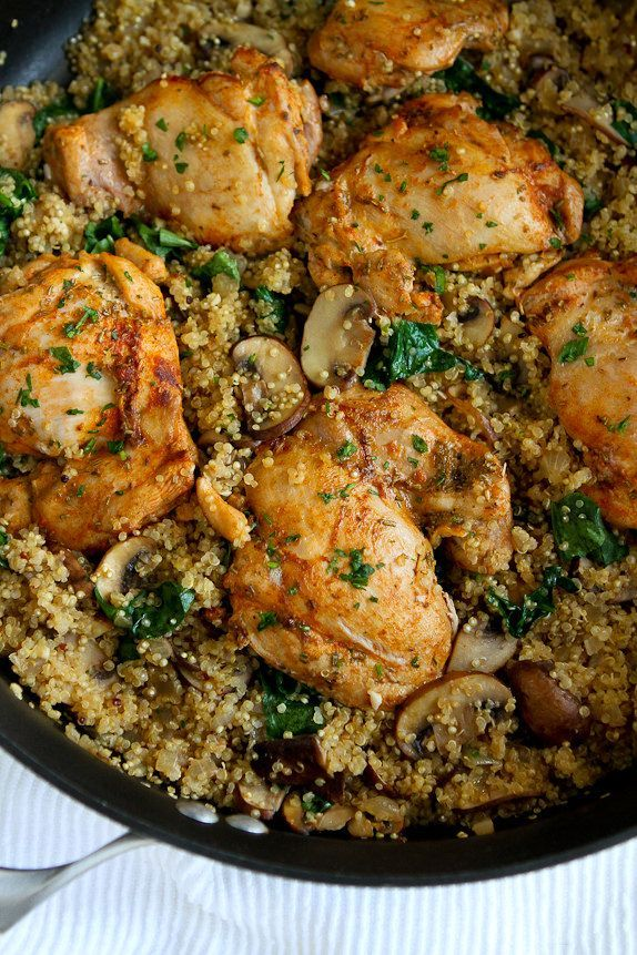 One-Pot Chicken, Quinoa, Mushrooms & Spinach...Healthy dinner, quick clean-up! #healthy #chicken #recipe