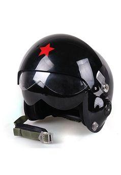Open Face Black Motorcycle Jet Pilot Helmet ! Buy Now at gorillasurplus.com