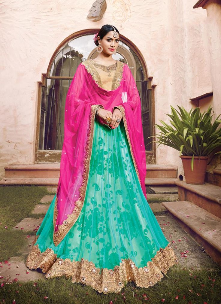 Exceeding Net Hot Pink and Turquoise A Line Lehenga Choli