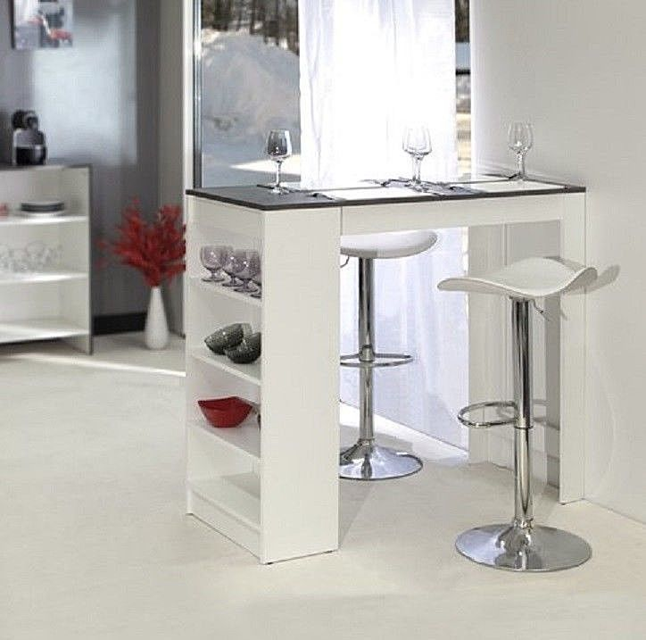White Kitchen Breakfast Bar Table Storage Shelves Space Saving