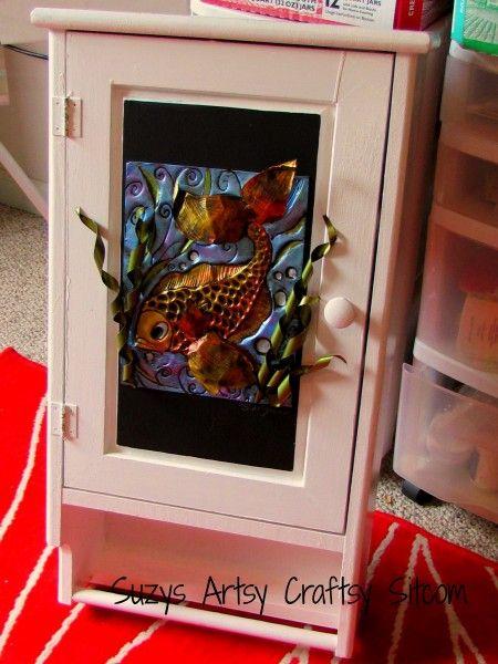 Fish Cabinet/Enchanted Fish Pattern/ Suzys Artsy Craftsy Sitcom: Fish Cabinets Ench, Crafts Ideas, Artsy Craftsi, Cookie Sheet, Repurposed Ideas, Cabinets Ench Fish, Suzy Artsy, Sheet Ideas, Fish Patterns
