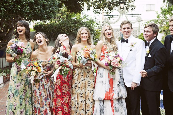 printed autumn bridesmaids | via: style me pretty