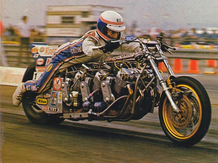 """Top Fuel Motorcycle Racing Legend Russ Collins.. Using a pair of 1,000cc Honda engines mounted together as a V8 stlye mill, """"The Sorcerer"""" quickly established itself as the greatest drag racing motorcycle of all time. It ran 7.30/199.55 which was a record that stood for ELEVEN FRIGGIN' YEARS. That's how you do it, kids."""