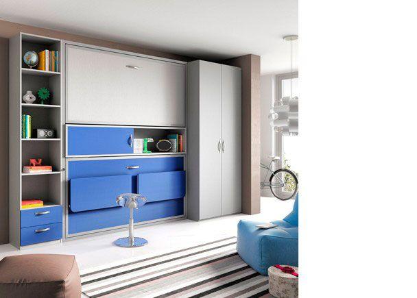 Habitación juvenil con literas abatibles con escritorio y armario.