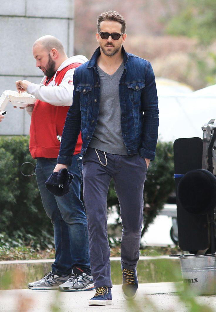 Dark denim jacket + grey shirt A+ greyish jeas