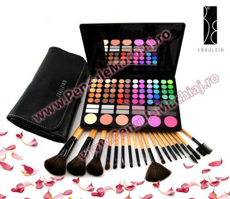 Trusa Farduri 78 culori cu blush Fraulein38 + 18 pensule machiaj