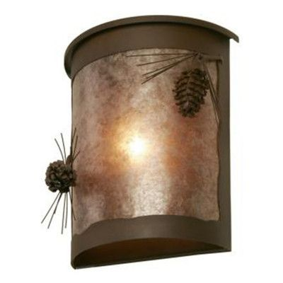 Steel Partners Ponderosa Pine 1 Light Outdoor Flush Mount Finish: Architectural Bronze, Shade Type: White Mica
