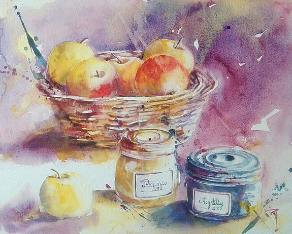 Douceurs Gourmandes Watercolor Art Artwork Art