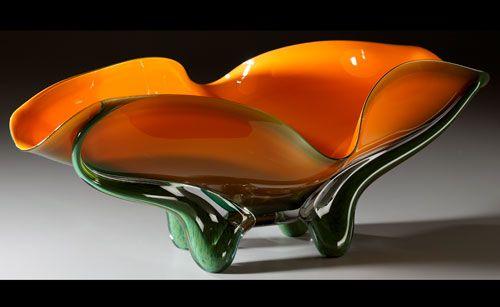 pumpkin, blown glass bowls at a Scottsdale art gallery