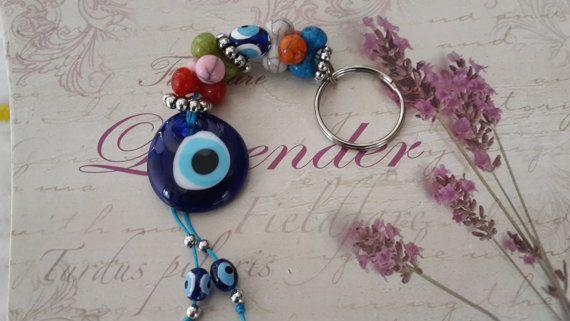 Evil Eye Key Chain Handmade Turkish Ceramic Silver by Myowncoffee