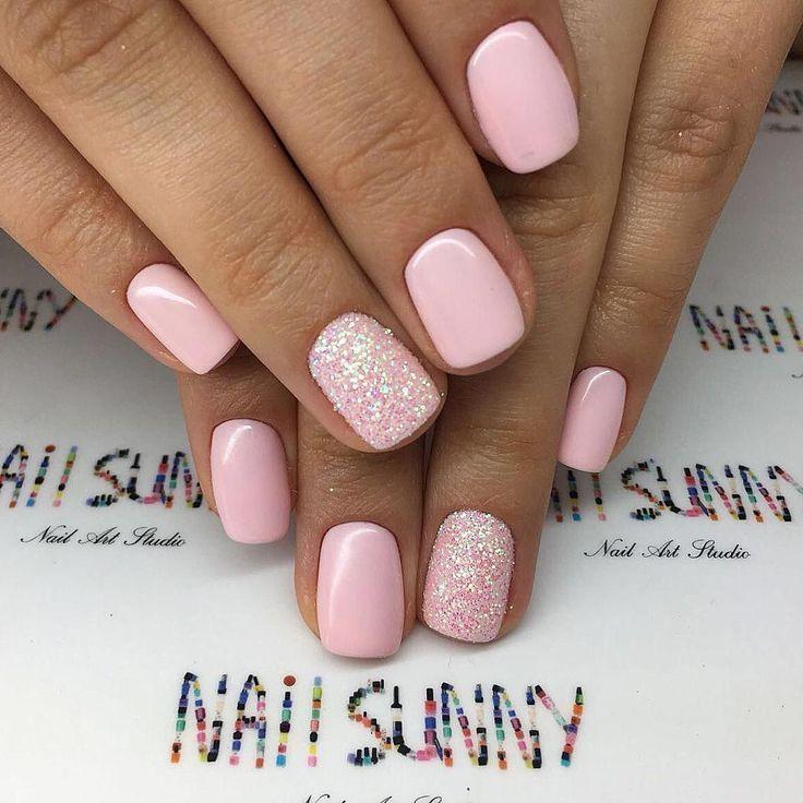 Pink Gel Nail 40 Ideas For A Perfect Nail Art Art Gel Ideas Nail Perfect Pink In 2020 Pink Sparkle Nails Pale Pink Nails Pink Nail Designs