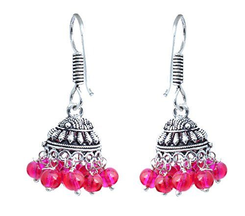 Waama Jewels German silver plated Dangle and drop earring for girls & Women Festive and Daily Wear Earring Gemstone Color (Pink_Jhumki)