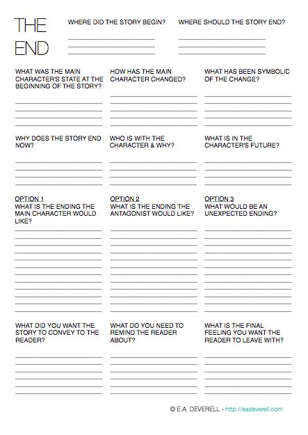 Writing Worksheet – Endings (PDF) In honour of NaNoWriMo, this month's worksheets will have one purpose: to increase your word count by hook or by book. The final writing worksheet in this marvellous month of November is inspired by the last virtual NaNoWriMo write-in. Imagining the best endings for each of your characters is a…
