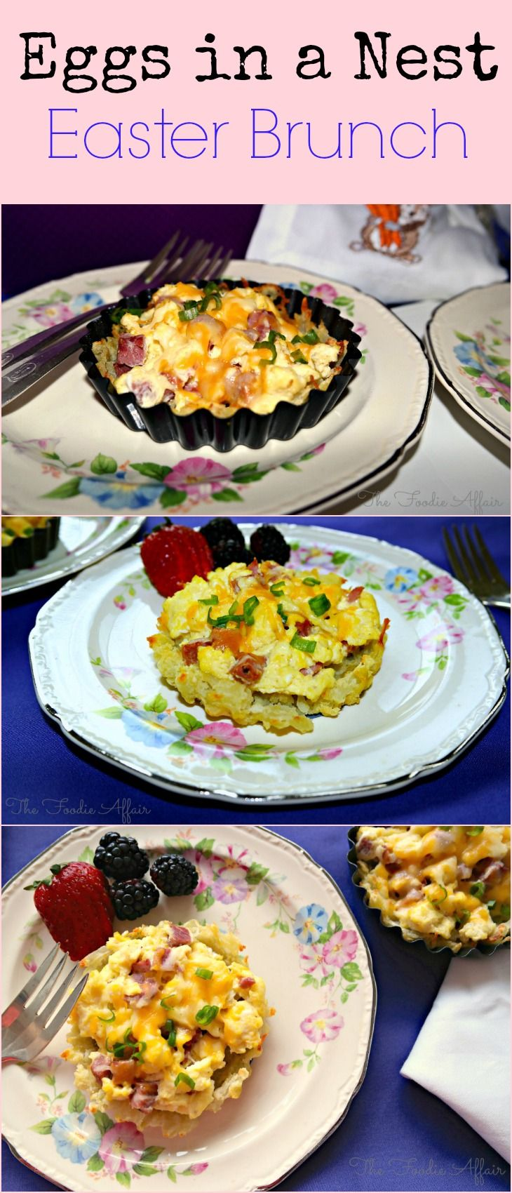 Shredded baked potatoes gently patted into a mini tart pan, then baked until a crust forms. Add cooked scrambled eggs, top with some cheese and you have Eggs in a Nest! The Foodie Affair #Brunch #Easter #eggs