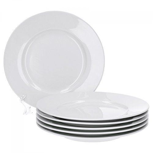 Van Well Trend 6er Set Dessertteller, Flach Ø 20 Cm Weiß Porzellan Geschirr  Frühstücksteller #