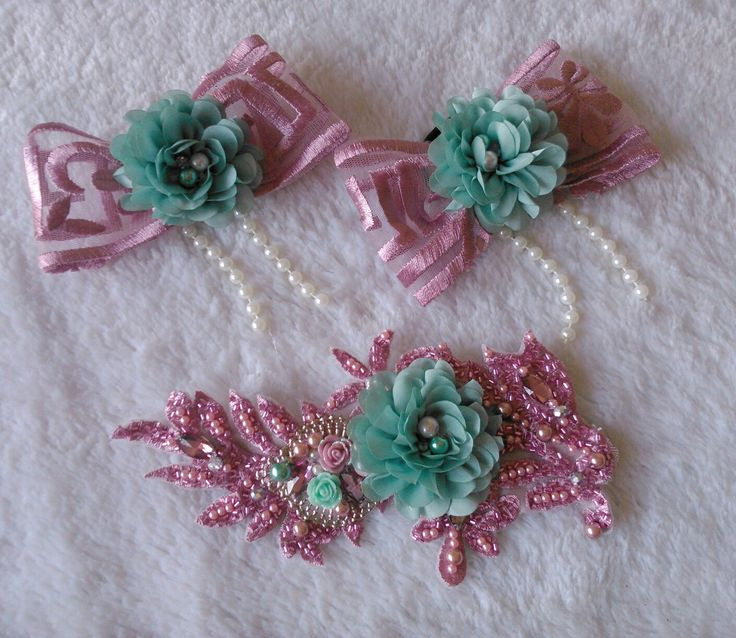Couple custom made mother and daughter accessories; headpiece & hair bow :))