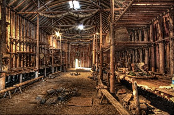 Interior of an Iroquois Longhouse at Crawford Lake Conservation Area, Ontario