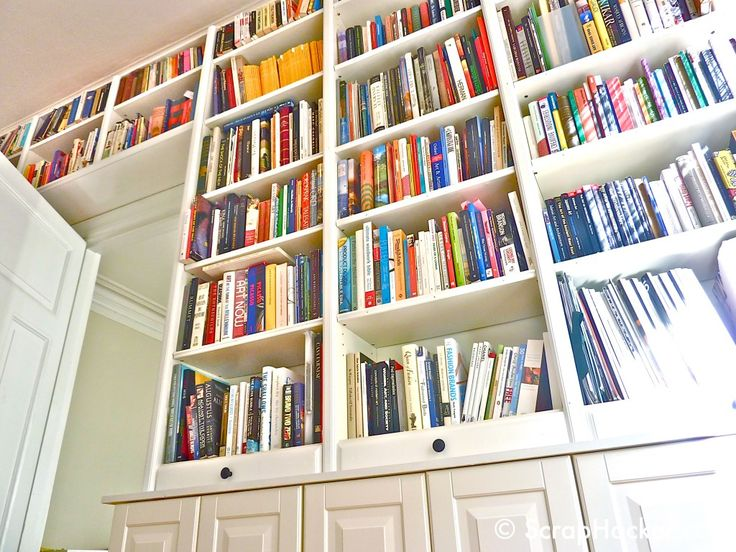 IKEA hack -- Billy Bookshelves to look like built-ins (with cabinets underneath)