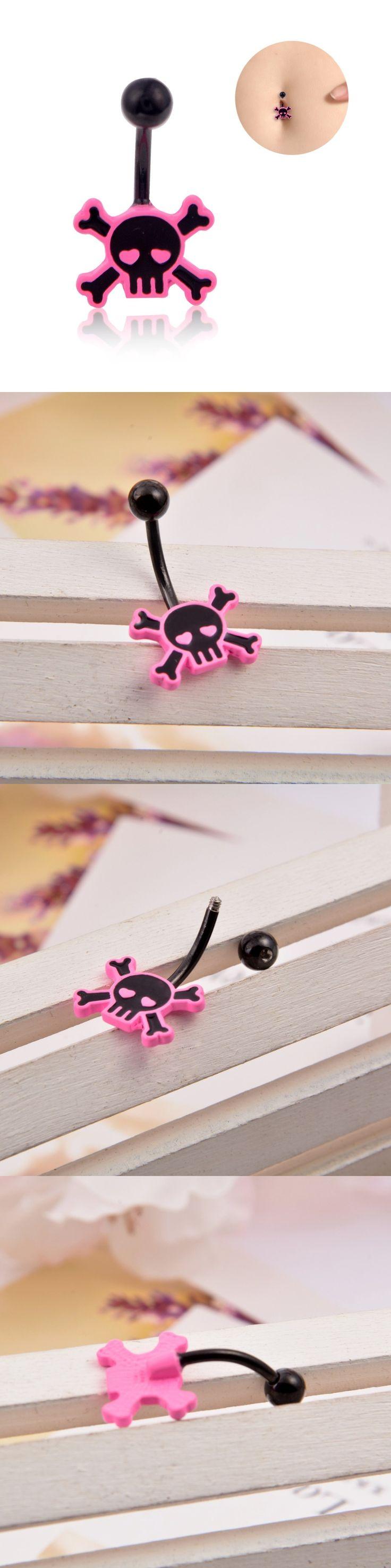1pc Lovely Pink Skull Navel Piercing Nombril, Black Baking Belly Button Rings Sexy Belly Piercing Ombligo Navel Piercings