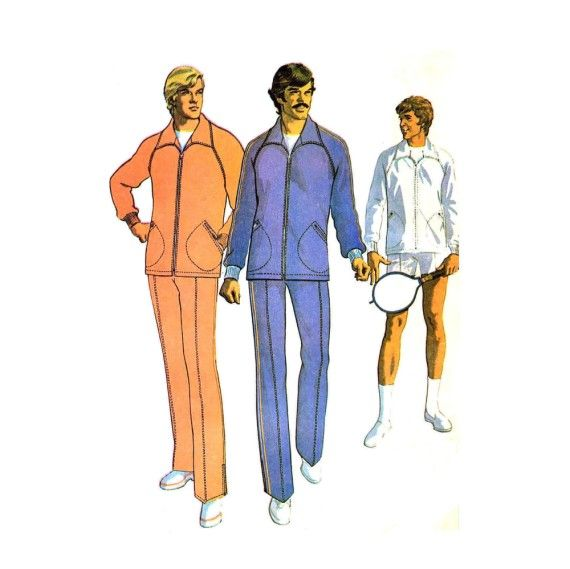 1970s Mens Jogging Suit Sport Jacket Tennis Racket Cover McCalls 3504 Vintage Sewing Pattern