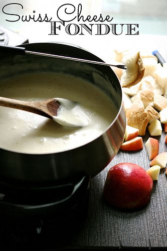 Swiss Cheese Fondue _ Serve with cut up crusty french bread, apples and or a variety of vegetables.
