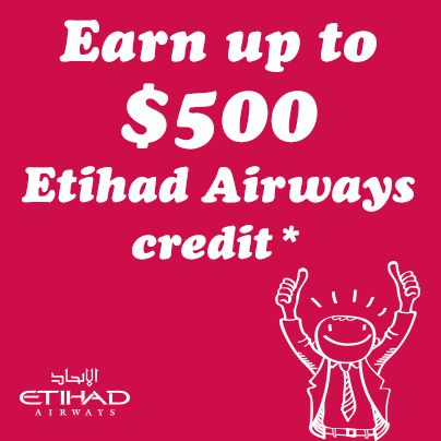 Corporate Traveller clients can earn up to $500 in credit with Etihad Airways as well as a membership fast track http://www.corporatetraveller.com.au/benefits/business-travel-specials/offers/etihad500