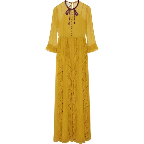 Gucci Embellished silk-chiffon gown ($6,390) ❤ liked on Polyvore featuring dresses, gowns, gucci, long dresses, yellow, slip dress, yellow gown, sequin gown and sequin evening gowns