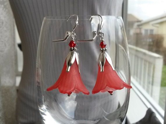 Dangle fairytale earrings with lucite flowers in red by IMKdesign