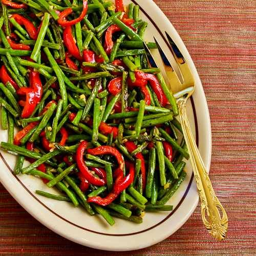 Recipe for Roasted Green Beans and Red Bell Pepper with Garlic and Ginger; this is a deliciously healthy side dish for the holidays! [from Kalyn's Kitchen] #HealthyHolidays
