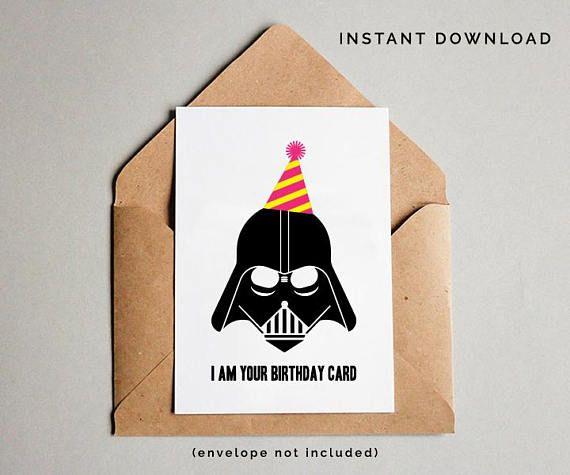 Star Wars Birthday Card Darth Vader Birthday Card Star Wars Starwars Birthday Card Funny Birthday Cards Birthday Card Printable