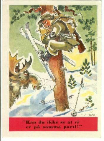 Kan du ikke se vi er på samme parti? Arg elgokse jager skiløper fra Brig S (avdelingsmerke elghode) opp i nærmeste storfuru som hevn for elgjakta