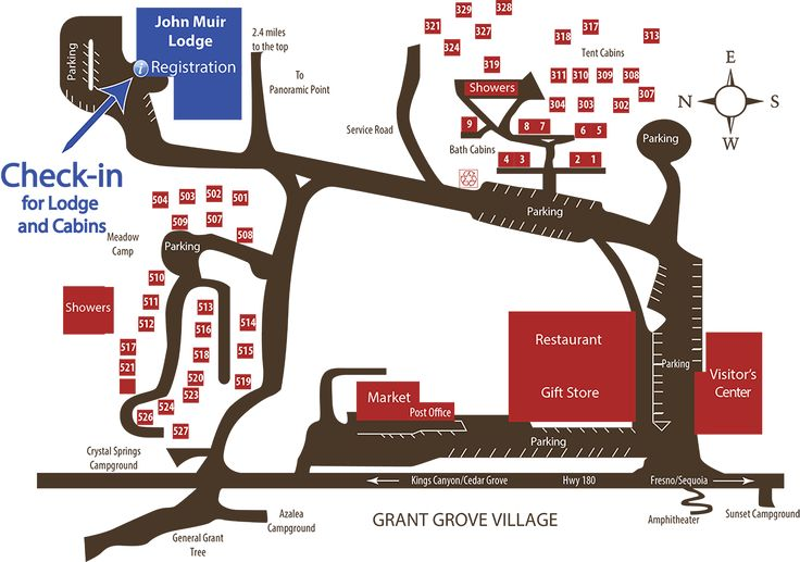 John Muir Lodge and Grant Grove Cabins Check-in Map