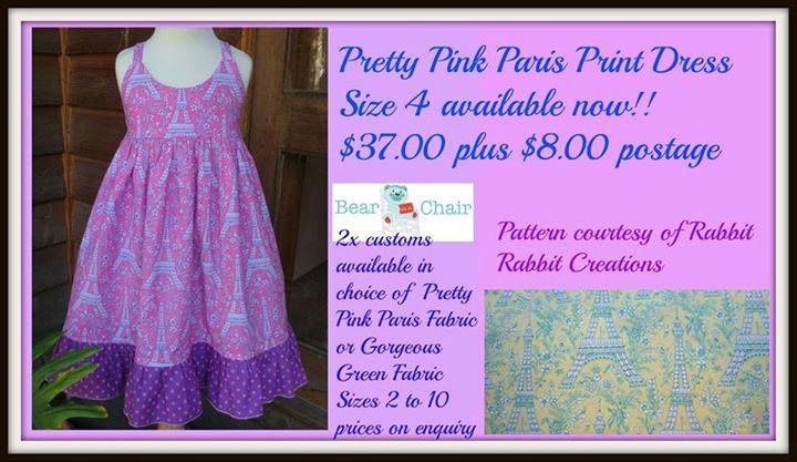Handmade By Bear In A Chair Pretty Pink Paris Print Dress